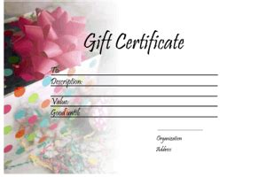 Gift Certificate Template For Pages gift certificate templates free printable gift