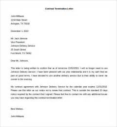 Termination Contract Letter Employment 9 Termination Of Services Letter Templates Free Sle