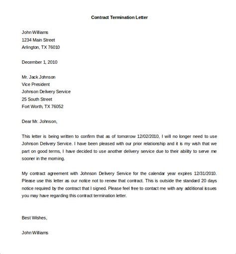 cancellation letter for contract service 14 termination of services letter templates free sle