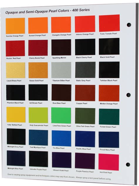thecoatingstore 400 series pearl color chart thecoatingstore