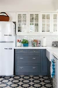 floor and decor cabinets kitchen with white cabinets gray cabinets patterned tile floor subway tile backslash and