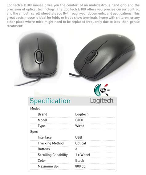 Logitech Keyboard K100 Mouse B100 mouse logitech optik b100