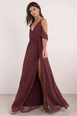 lovely wine maxi dress slit dress wine dress maxi