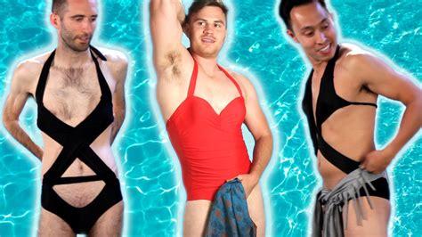 pic of men in female swinsuits men try women s swimwear viral viral videos