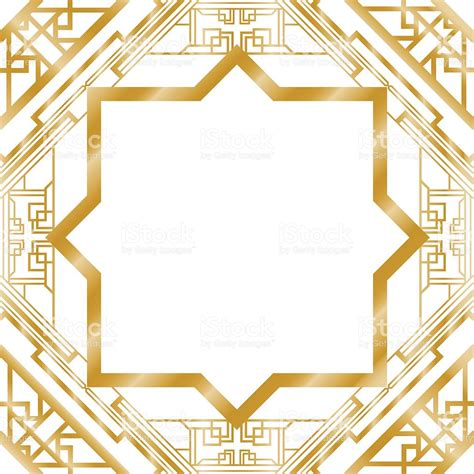 gold pattern frame gold art deco border frame pattern stock vector art more
