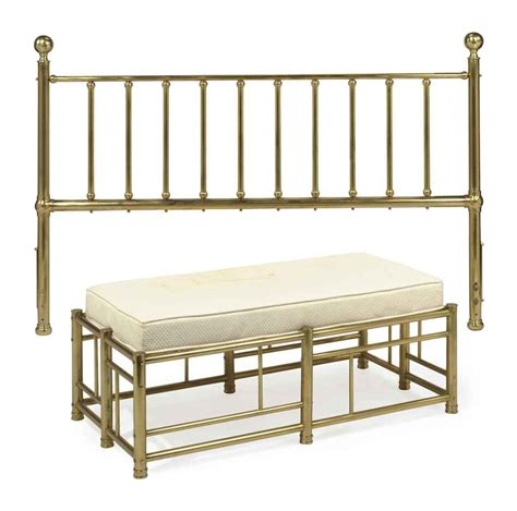 brass headboard a brass headboard and upholstered bench 20th century