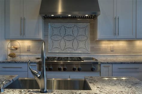 beautiful bianco antico granite kitchen with custom tile