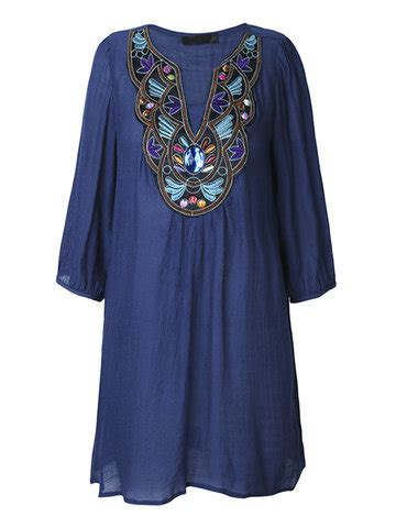 3 4 Sleeve Embroidery T Shirt buy t shirt dress at newchic