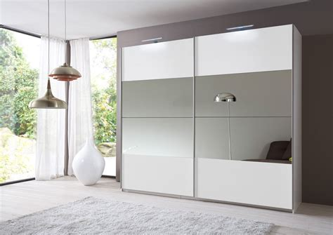 White Sliding Mirror Wardrobe by Slumberhaus Eleganz German Made Modern White Mirror