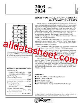 transistor uln2003a datasheet uln2003a datasheet pdf allegro microsystems