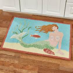 mermaid hooked accent rug