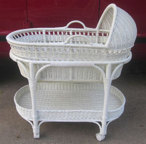 Nursery Storage Basket by The Pottery Barn White Wicker Bassinet W Removable Moses