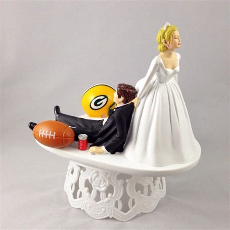 Handmade Wedding Cake Toppers - handmade wedding cake topper nfl themed green bay packers