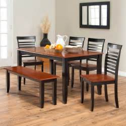 Dining Room Set With Bench simple two toned dining set with bench the seats and table top are