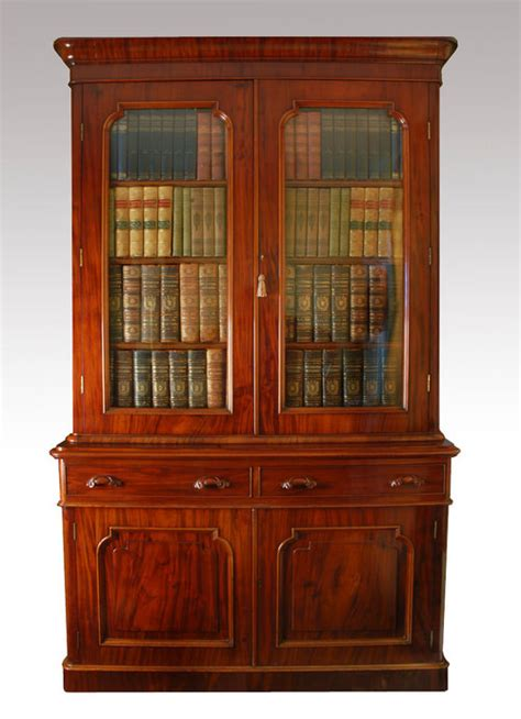 mahogany two door bookcase for sale antiques