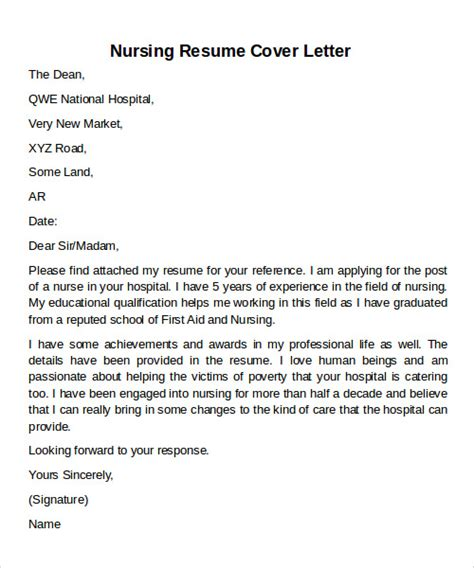Resume Cover Letter Nursing by Sle Cover Letter Exles For 12 Documents In Pdf Word
