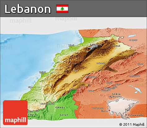 physical map of lebanon free physical panoramic map of lebanon political shades