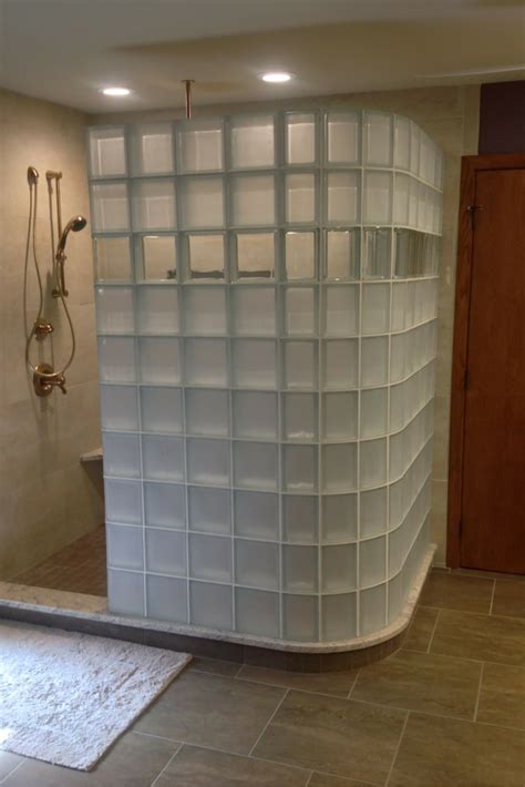 How To See Through Bathroom Glass by Glass Block Shower In A Columbus Spa Bathroom
