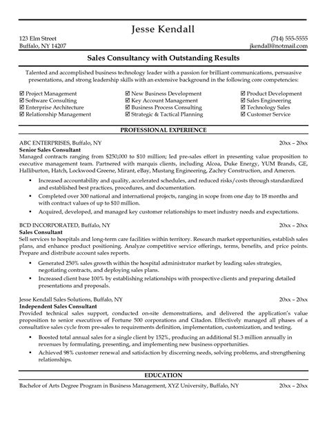 Resume Sle For Business Consultant Pre Sales Resume Sales Sales Lewesmr