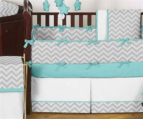 Cheap Modern Grey Turquoise White Unisex Baby Bedding Crib Chevron Boy Crib Bedding