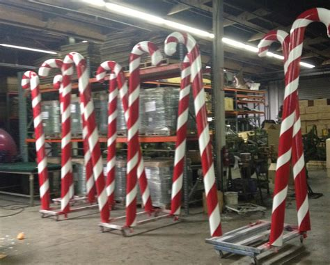 giant candy canes in factory peppermint candy cane