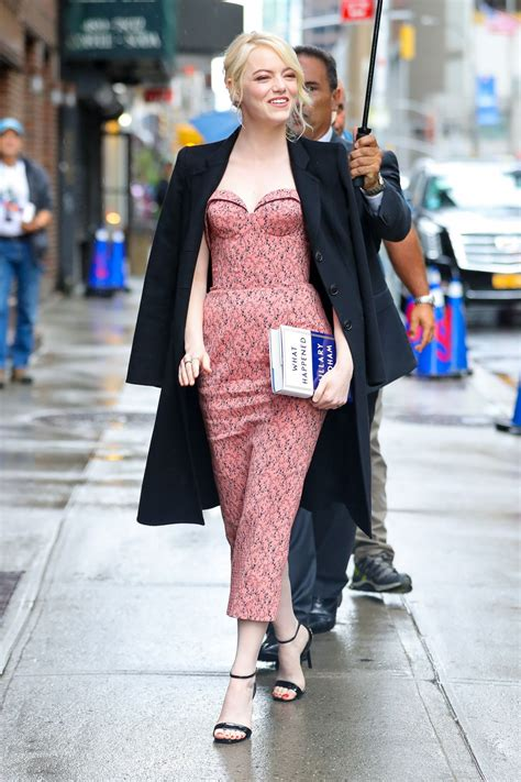 emma stone colbert emma stone arriving at the late show with stephen