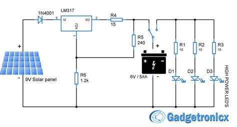 Solar Light Schematic Solar Powered Led Light Circuit Gadgetronicx