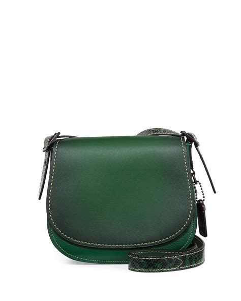 Purse Deal Saddle Bags by Lyst Coach 23 Python Saddle Bag In Green