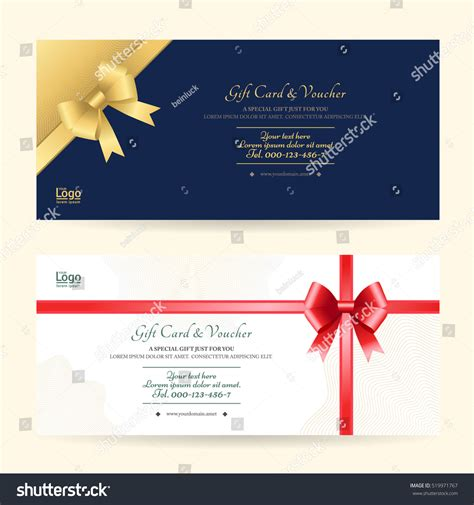 shiny card template gift voucher gift card template stock vector