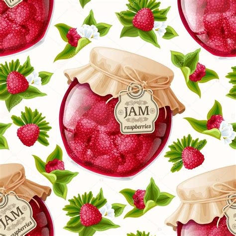 pattern jam closing raspberry jam seamless pattern stock vector