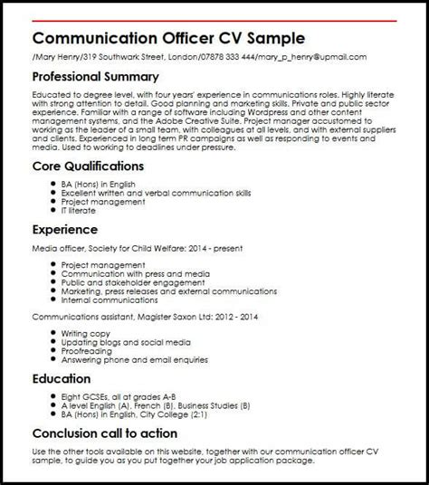 Cover Letter Sle Communications Manager by What To Write In The Communication Section Of A Resume