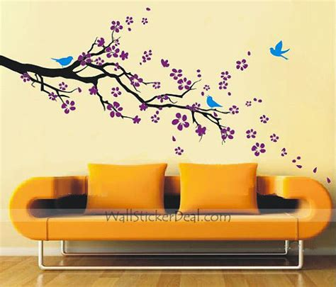 wall stickers for the home plum blossom with birds wall sticker home decorating