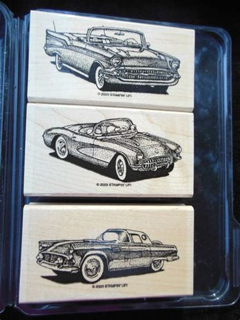 rubber st sets for card discontinued stin up classic convertible car st set