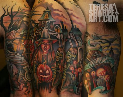 halloween sleeve tattoo designs paradise artist retreat tattoos horror