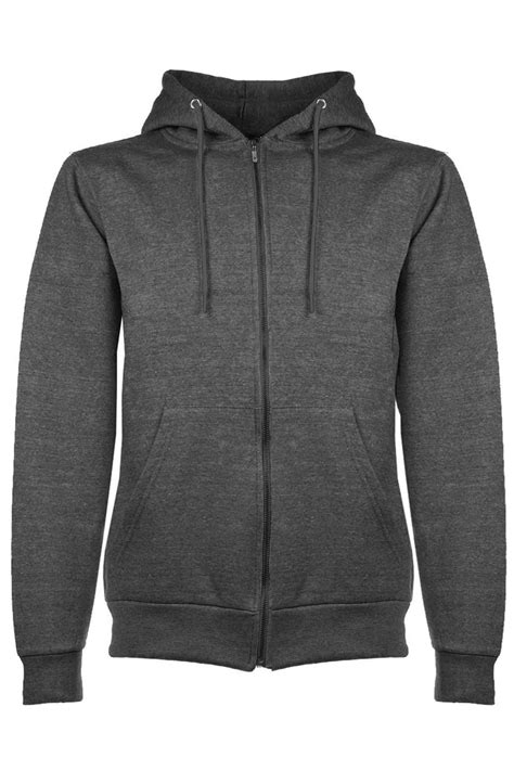 Plain Zip Detail Zip Jacket mens plain hoodie fleece knit zip up hoody jacket hooded