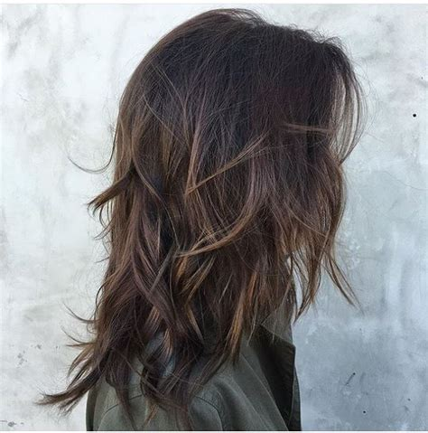 messy short layers on lower length messy dark brown waves with long layers medium hair