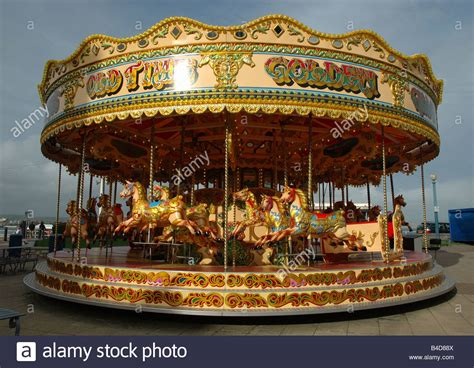 fairground carousel weymouth dorset england uk stock
