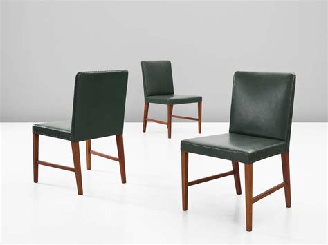 Green Leather Dining Chair Illum Wikkels 248 Set Of 12 Dining Chairs In Teak And Green Leather For Sale At 1stdibs
