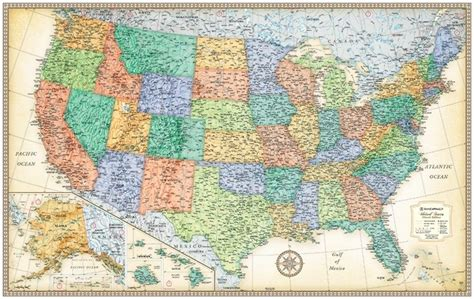 rand map in usa themapstore rand mcnally usa wall map antique style