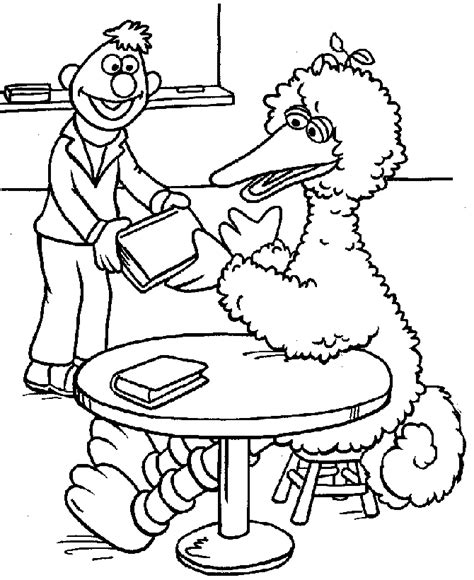 sesame street coloring pages big bird at school