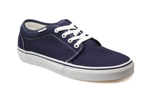 vans 106 navy blue white canvas mens womens trainers