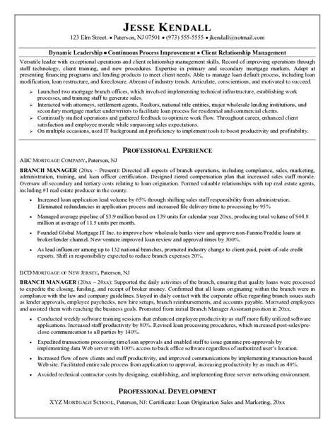 example mortgage company branch manager resume free sample