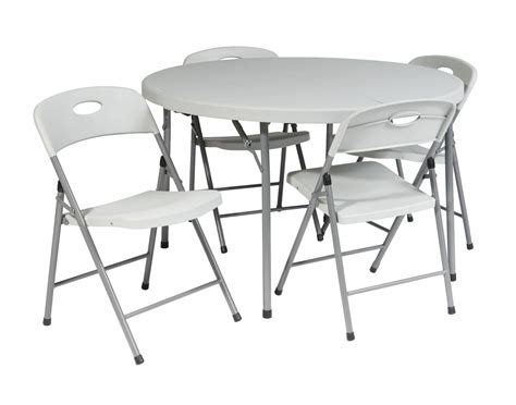 Folding Chairs And Table Set Quot 5 Folding Set 4 Chairs And 48 Quot Quot Fold In Half Table Quot Ergoback