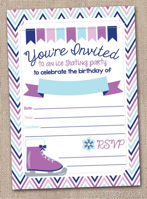 free printable birthday invitations ice skating ink obsession designs ice skating birthday party