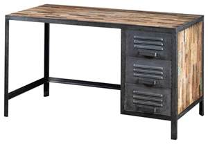 industrie schreibtisch recycled wood and industrial metal locker style desk