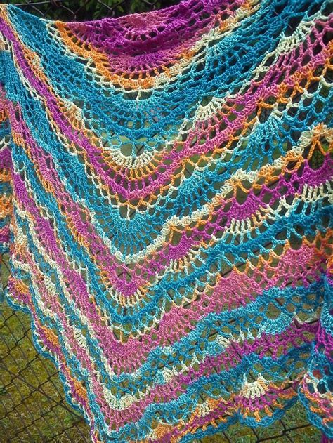 shawl pattern variegated yarn lacy crochet shawl from variegated yarn with link to free