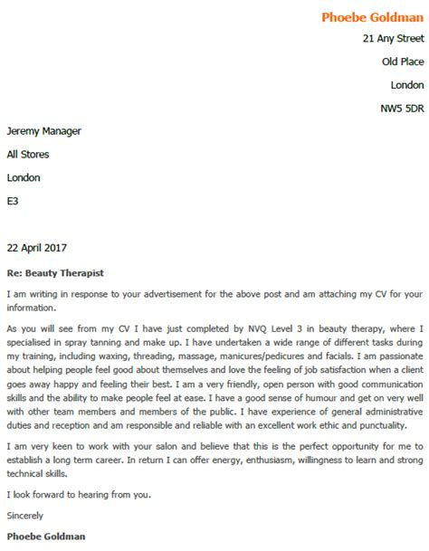 job application letter for beauty therapist lettercv com