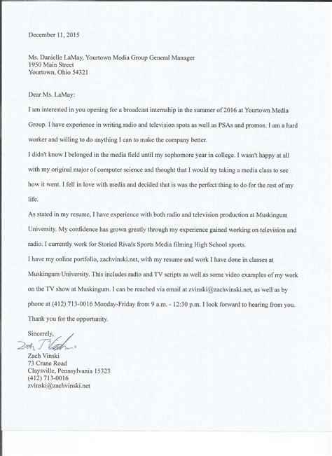 Television News Producer Cover Letter by Cover Letter Videographer Cover Letter Templates