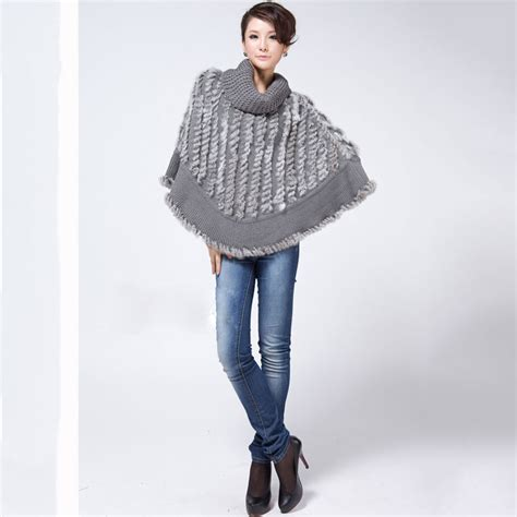 aliexpress buy 2017 sale real knitted rabbit fur poncho for shawl fashion cape