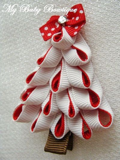 toddler girls hair bow red and white christmas tree clip